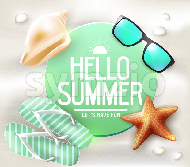 Hello Summer Greeting on Circle Tag Stock Vector