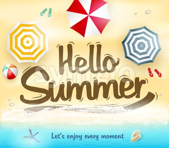 Hello Summer Let Us Enjoy Every Moment Stock Vector