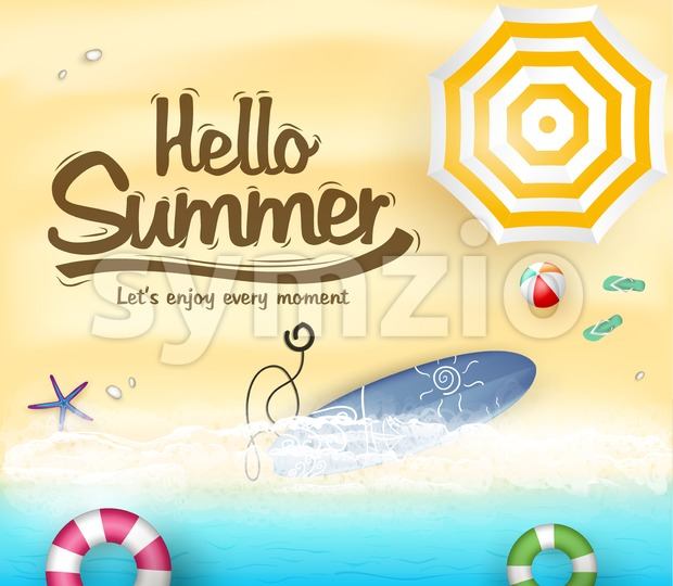 Beach Seashore Top View with Hello Summer Message and Surfboard Vector Illustration. This creative design is rich in details with ...