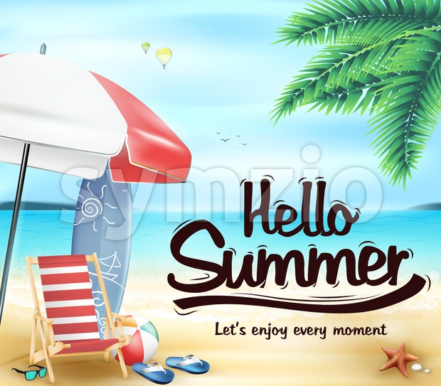 Hello Summer in the Beach Resort Stock Vector
