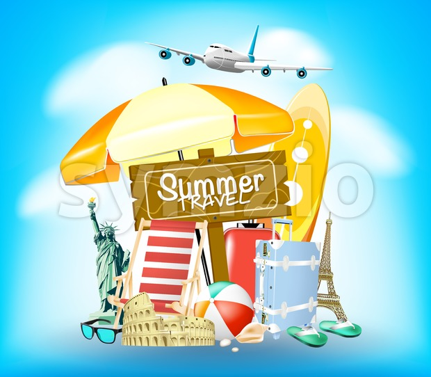 Summer Travel Sign on Blue Background with Traveling Bag and Airplane Vector Illustration. This creative design is rich in details ...