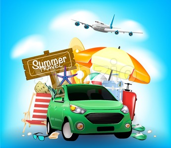 Summer Travel Sign on Blue Background with Car Stock Vector