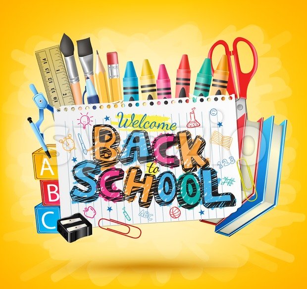 Back to School Yellow Background Vector Illustration Stock Vector