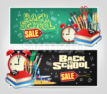 Back to School Sale Banners Vector Stock Vector