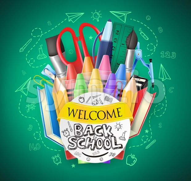 Back to School Green Chalkboard Background Stock Vector