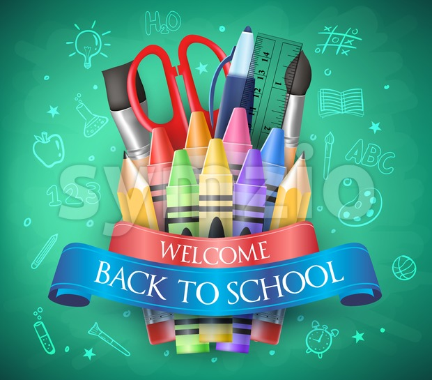 Welcome Back To School with Ribbon Stock Vector