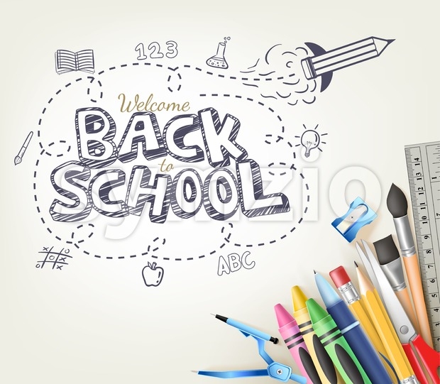 Back to School Doodle Vector Illustration Stock Photo