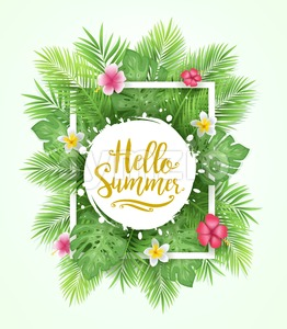 Tropical Leaves Background Hello Summer Stock Vector