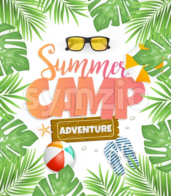 Summer Camp Vector Poster Design for Adventure with Tropical Leaves. This creative design is rich in details with fresh colors ...