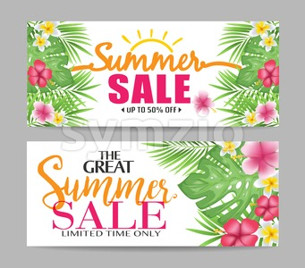 Floral Summer Sale Banners with Tropical Leaves Stock Vector