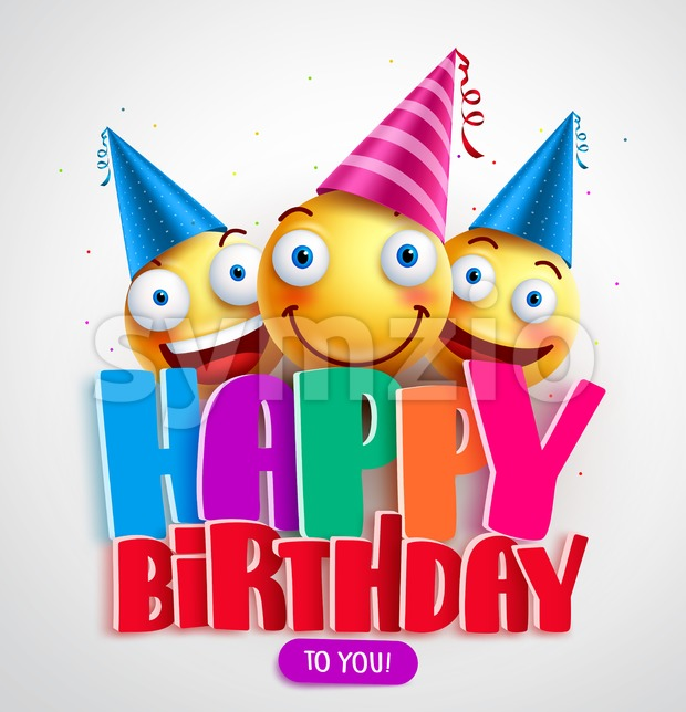 Happy Birthday to You Vector Banner Design with Funny Smileys Wearing Birthday Hat in the colorful text in white background. ...