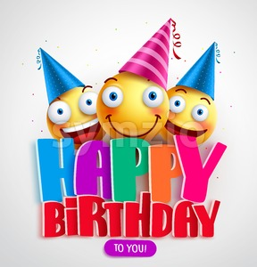 Happy Birthday to You Vector Banner Design with Funny Smileys Stock Vector