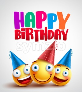 Happy Birthday Smileys Celebrant with Happy Friends Stock Vector