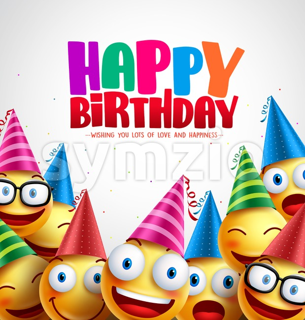 Smiley happy birthday greeting card colorful vector background in white with space for text and message. Vector illustration. This vector ...