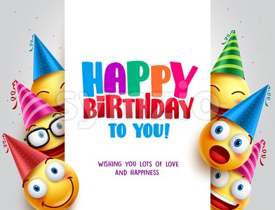 Happy Birthday Vector Design with Smileys Wearing Birthday Hat Stock Vector
