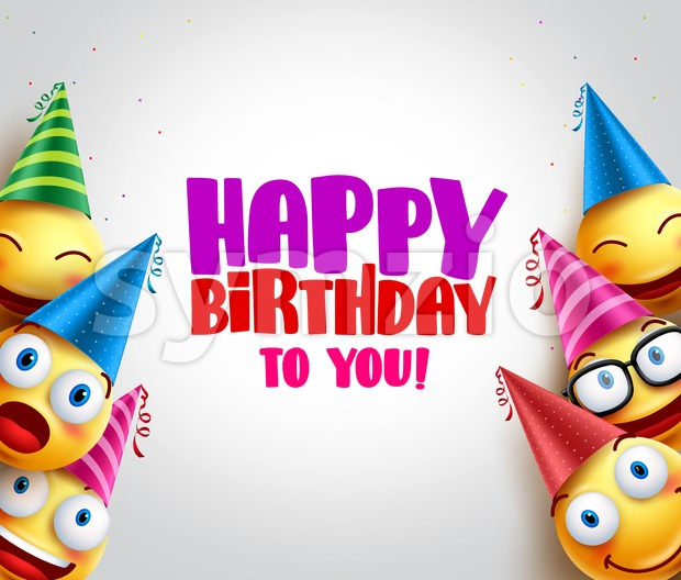 Happy Birthday Greeting with Smileys Vector Background Stock Vector