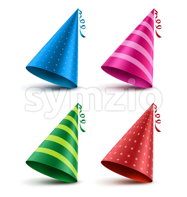 Birthday hat vector set with colorful patterns as elements and decorations for party and celebrations isolated in white background. Vector ...