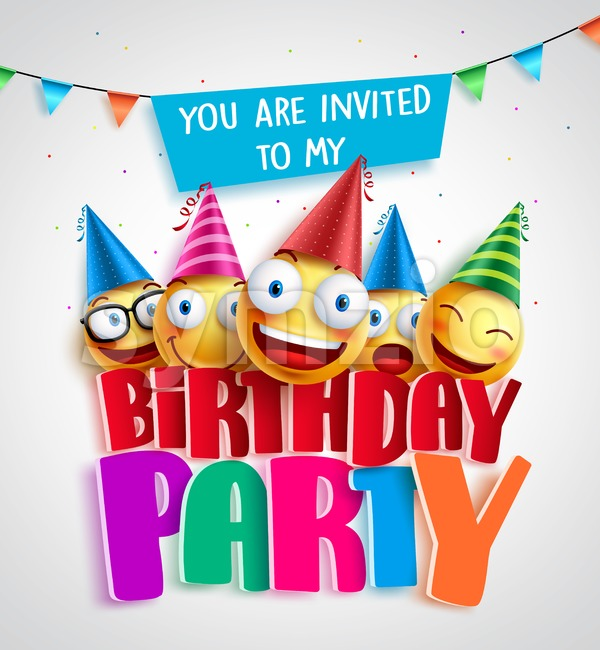 Birthday party invitation vector design with happy smileys wearing colorful birthday hats in 3D text in white background. Vector illustration. ...