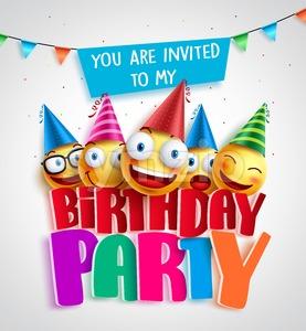 Birthday party invitation vector design with happy smileys Stock Vector