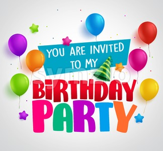 Birthday party invitation background vector design with greetings Stock Vector