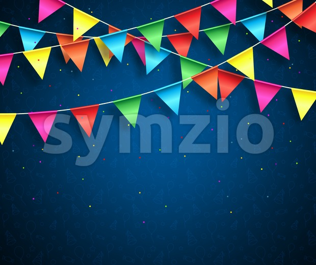 Streamers background design with birthday patterns and colorful confetti for birthday party and other celebrations. Vector illustration.