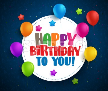 Happy birthday vector greetings with text in white space Stock Vector
