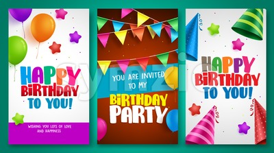 Happy birthday vector banner designs set with colorful elements Stock Vector