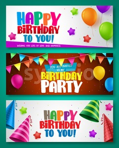 Happy birthday vector poster designs set with colorful elements Stock Vector