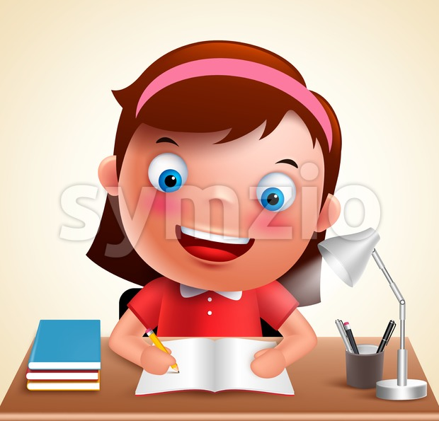 Girl kid vector character happy studying school homework Stock Vector