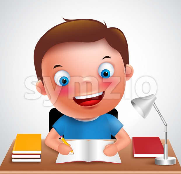 Boy kid vector character happy studying homework Stock Vector