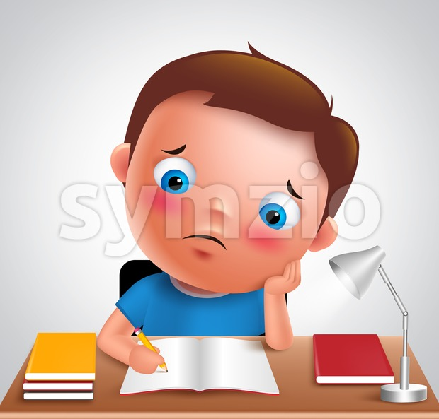 Preschool boy kid vector character studying school homework Stock Vector