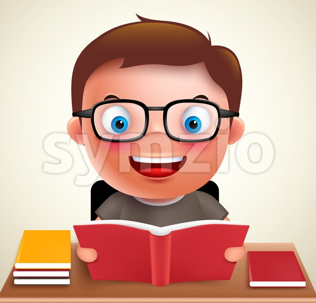 Smart preschool boy kid vector character holding and reading book and doing school homework in desk wearing eyeglasses. Vector illustration. ...