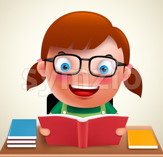 Adorable preschool girl kid vector character holding and reading book and doing school homework in desk wearing eyeglasses. Vector illustration. ...