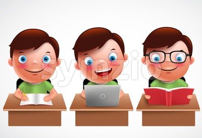 Boy kid vector characters set. Male preschool student Stock Vector