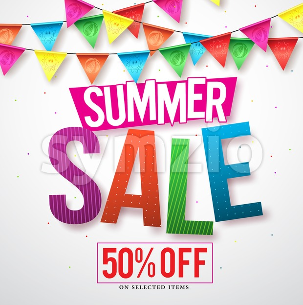 Summer sale vector banner design with colorful streamers hanging in white background for seasonal discount promotion. Vector illustration. This vector ...