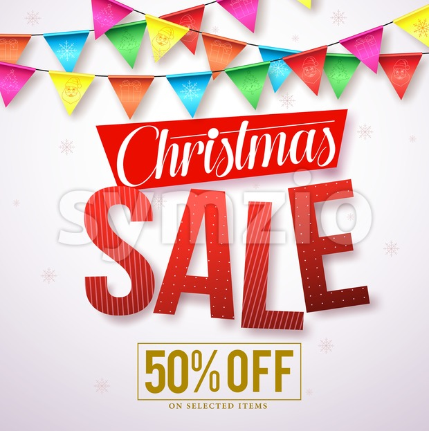Christmas sale vector banner design with red text and colorful streamers hanging in white background for holiday promotions. Vector illustration.This ...