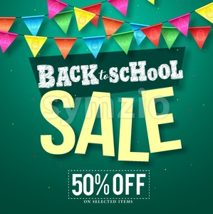 Back to school sale vector design with colorful streamers Stock Vector