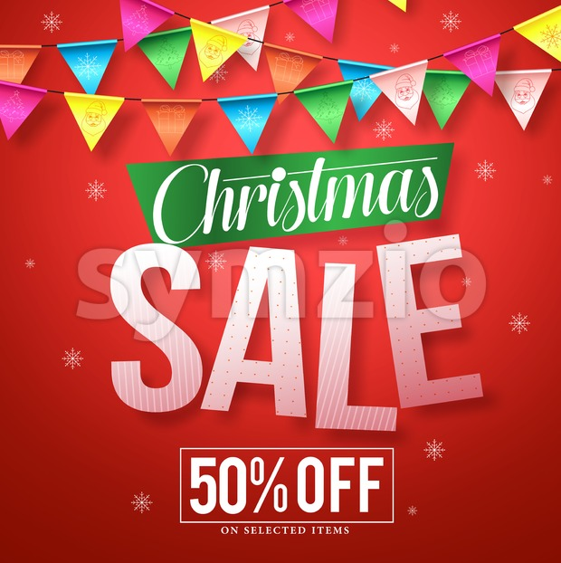 Christmas sale vector banner design with colorful streamers hanging in red background with snowflakes for holiday promotions. Vector illustration. This ...