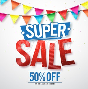 Super sale vector design with 50% off and streamers Stock Vector