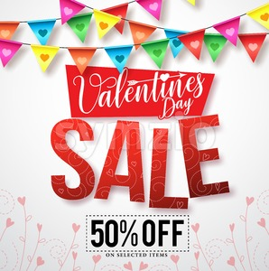 Valentines sale vector banner design with streamers Stock Vector