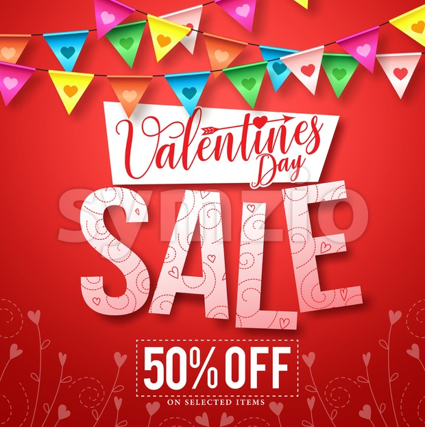 Valentines sale vector design with colorful hanging streamers of hearts in red background for shopping promotion. Vector illustration. This vector ...