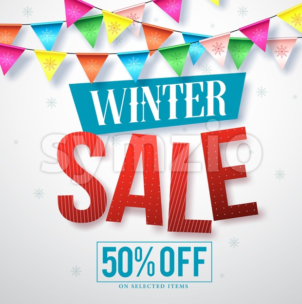Winter sale vector banner design for promotions with hanging colorful streamers and snowflakes in white background. Vector illustration. This vector ...