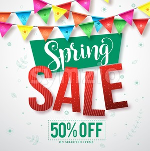 Spring sale vector banner with colorful streamers Stock Vector