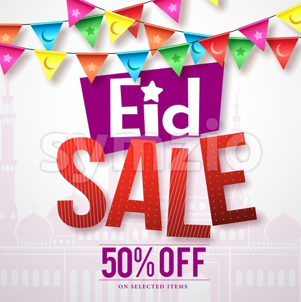 Eid sale vector banner design with colorful streamers Stock Vector