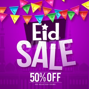 Eid sale vector design in purple background with mosque Stock Vector