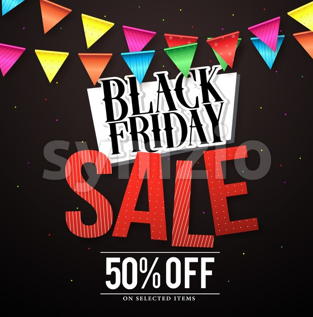 Black Friday sale vector banner design with colorful hanging streamers in black background for store marketing promotions. Vector illustration. This ...