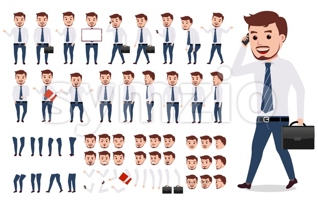 Businessman or office male vector character creation kit Stock Vector
