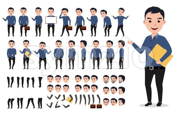 Businessman or male vector character creation set Stock Vector