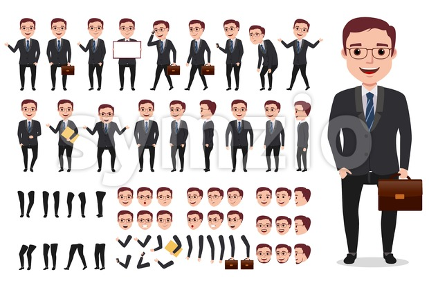 Business man character creation set. Male vector character walking and calling wearing formal office attire with gestures, poses and faces. ...