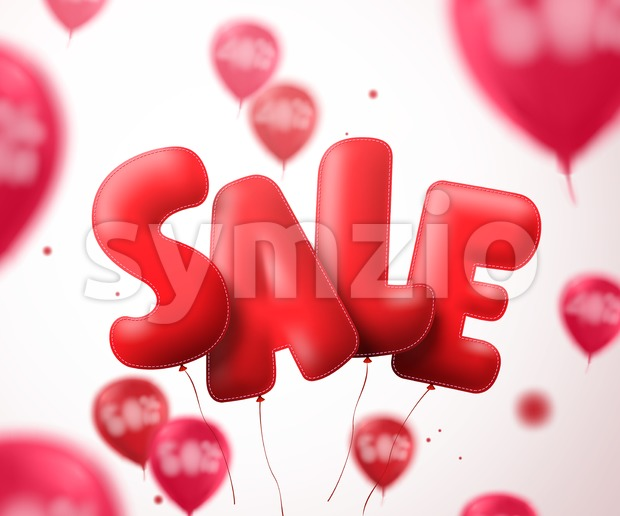 Sale balloon text vector banner design. Flying red sale shape with blurred balloons in a white background for store discount ...